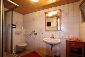 Badezimmer mit Dusche und WC eines Doppelzimmers